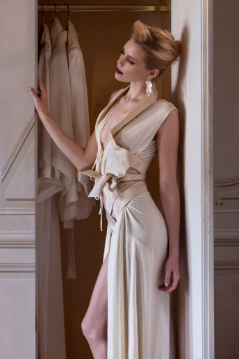 Airone Dress (ivory silk velvet and powder satin straps) 160IMSpecial