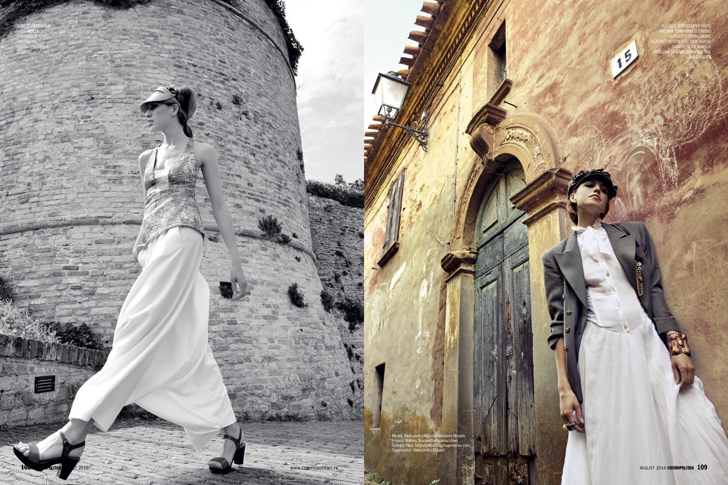 Left: Top KOLCHAGOV BARBA, Trousers 8TTAGONI, Visor SUPER DUPER HATS, Shoes ODETTE Right: Dress ERMANNO SCERVINO (stylist's own), Jacket VINTAGE 80s STYLIST'S ARCHIVE, Jewels ARLO HAISEK, Bracelet SARA BENCINI JEWELS, Visor SUPER DUPER HATS