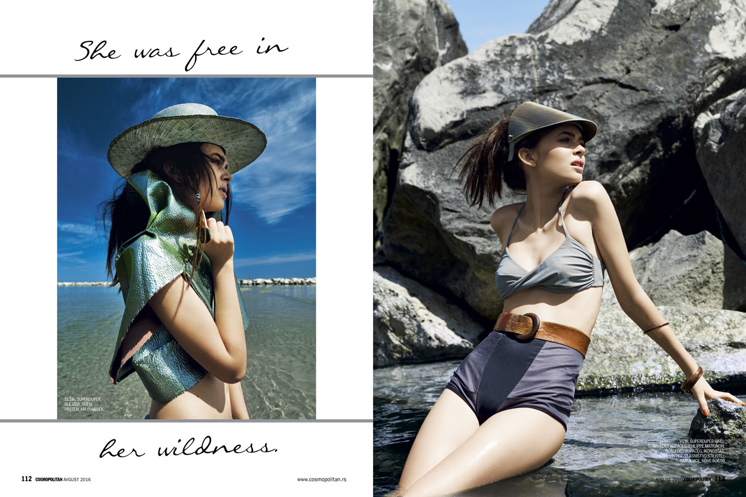 Left: Jacket GUEN,  Hat SUPER DUPER HATS, Ring ARLO HAISEK  -  Right: Visor SUPER DUPER HATS, Bikini PHILIPPE MATIGNON (stylist's archive), Belt VINTAGE, Culotte IKONOSTAS, Bracelets NOVE ROSSO